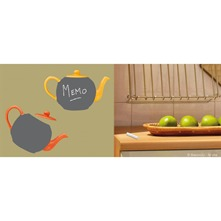 2 planches de stickers Chalkboard tea pot gris et orange