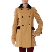 Manteau en laine mlange beige