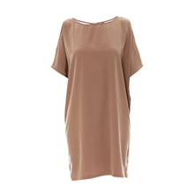 Robe bi-matire taupe
