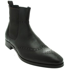 Men footwear: Dark Brown Perforated Leather Chelsea Boots