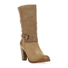 Bottes  talon en cuir beige