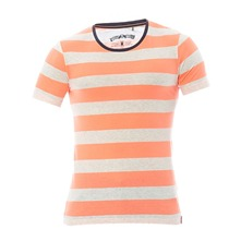 T-shirt ray orange fluo et gris chin
