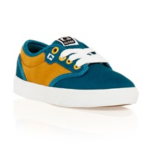 Baskets Motley en cuir sud turquoise et jaune