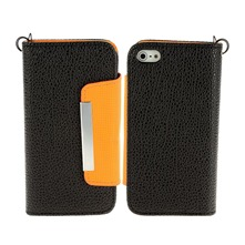 Etui cuir noir et orange pour iPhone 5