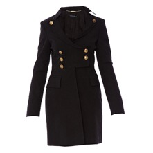 Manteau noir faux uni
