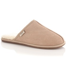 Men footwear: Men's Beige Sheepskin Slippers