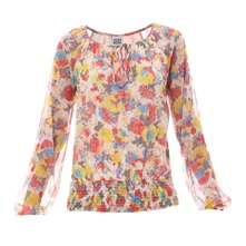 Blouse en voile chiffon fleuri rose clair