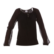 Blouse en voile chiffon uni noir