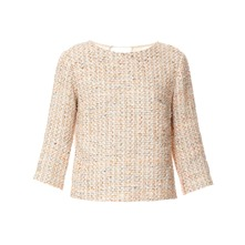 Blouse tweed et voile crme