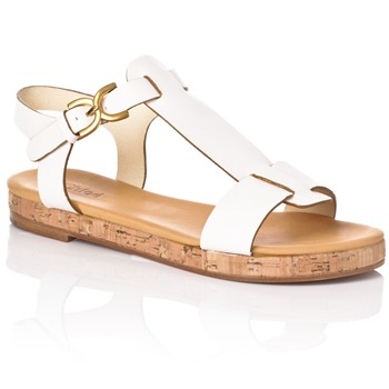 Chloé White Leather T-Bar Sandals