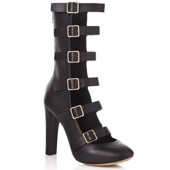 Chloé Black Leather Calf Length Strap Boots 11cm Heel