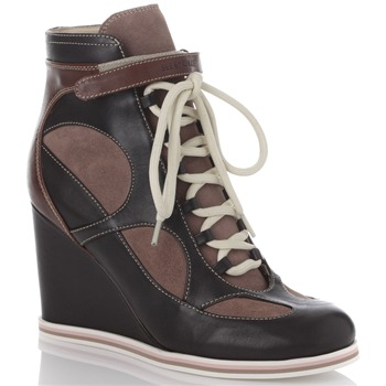 See by Chloé Black/Taupe Wedge Trainers 10cm Heel