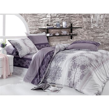 bettw sche 3 teilig violett cotton box ref 1544051 brandalley. Black Bedroom Furniture Sets. Home Design Ideas