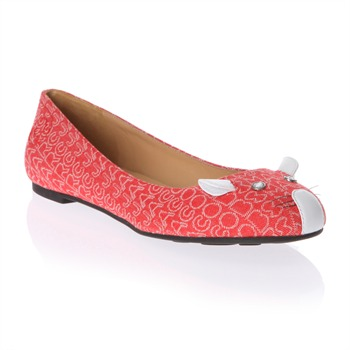 Marc by Marc Jacobs Red Monogram Canvas Mouse Pumps