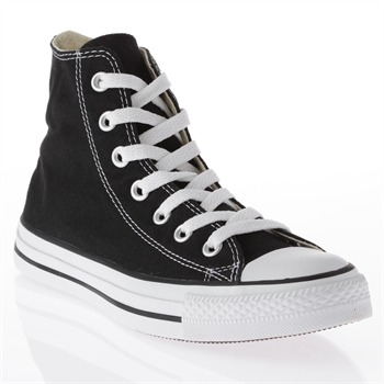 Converse Women's Black Canvas White Toe High Top Trainers