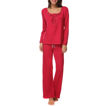 Pink Powder Room Red Ruffle Detail PJ Lounge Set