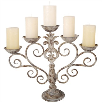 Fallen Fruits Cream/Rust Metal Candelabra
