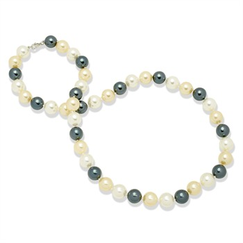 Perldor Pearls Deep Blue/Yellow/White Cultured Pearl Necklace