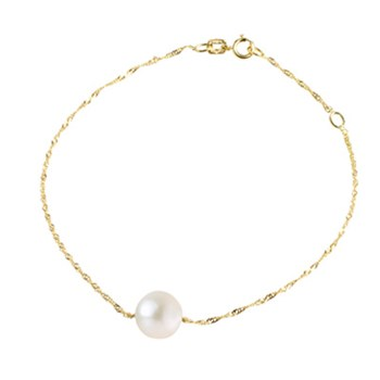 Atelier Victoire Gold Necklace/White Freshwater Pearl Pendant 7-8mm