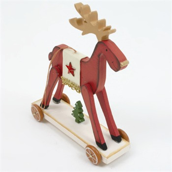 Heaven Sends Red Wooden Deer Decoration