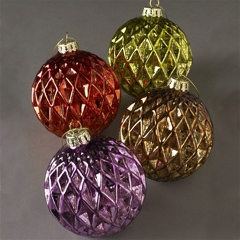 Heaven Sends Purple/Red/Gold/Green Glass Balls Set