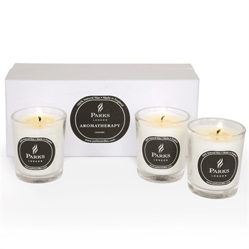 Parks London Set of Three Lavender Glass Tot Candles