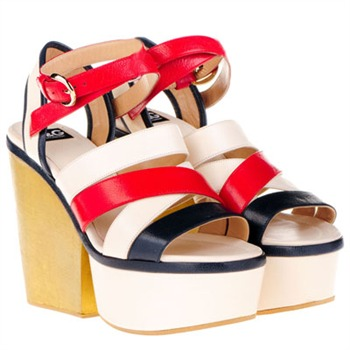 Dolce & Gabbana White/Red/Navy Platform Shoes 12.5cm Heel