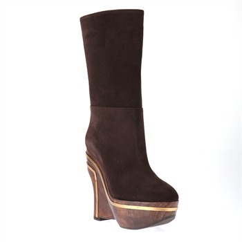 Marni Brown Wooden Wedge Suede Boots 14cm Heel