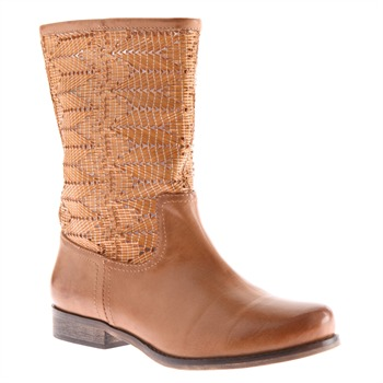 Red Hot Tan Leather Short Woven Zig Zag Boots
