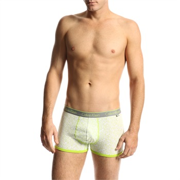 Calvin Klein White/Green Cotton Stretch Trunks