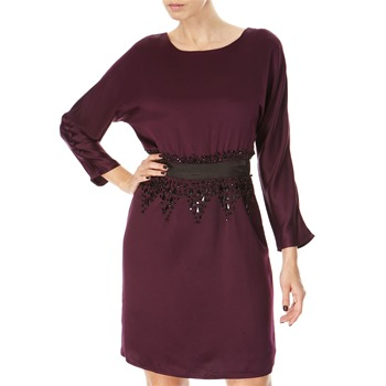Almost Famous Purple Beaded Satin Dress
