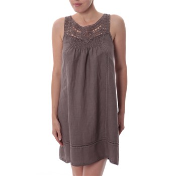 Paris Es Tyl Taupe Elasticated Back Dress