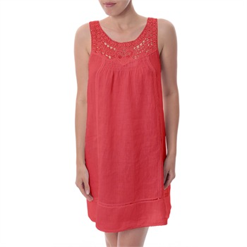 Paris Es Tyl Coral Crochet Linen Shift Dress