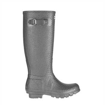 Hunter Pewter Carnaby Boa Tall Metallic Wellington Boots