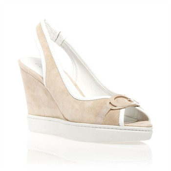 Guess Sand/White Open Toe Sandals 10cm Heel