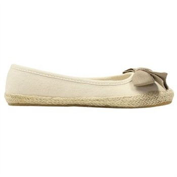 Ruby & Ed Cream Cotton Espadrille Bow Pumps