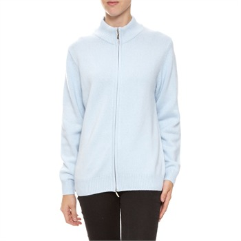 L Empire du cachemire Light Blue Cashmere Zip Jacket