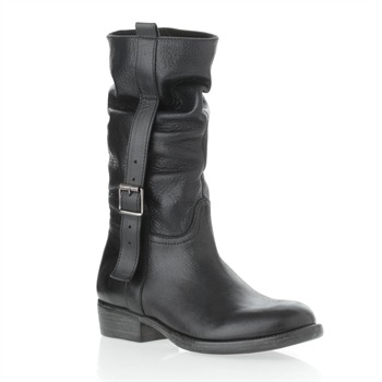 Inuovo Black Toledo Leather Buckle Boots