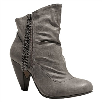 Red Hot Grey Tassel Zip Ankle Boots 8cm Heel