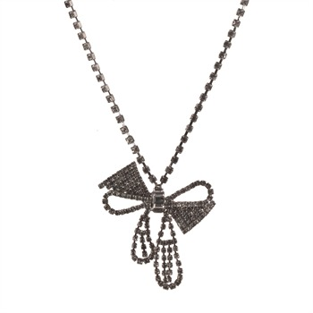 Juicy Couture Silver Diamante Bow Necklace