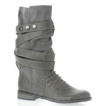 Krush Grey Canvas Panel Boots 2.5cm Heel
