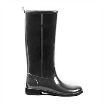 Ma Cri Dark Grey Piombo Tall Gloss Metallic Wellington Boots 3cm Heel