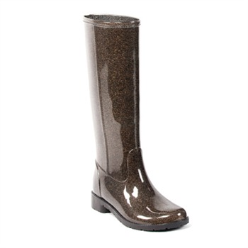 Favolla Glitter Brown Ribot Wellington Boots 3cm Heel