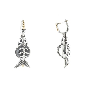 Stephen Webster Silver Plated/Grey Cats Eye Crystal Fish Drop Earrings