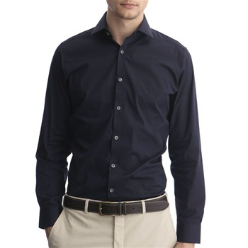 Aquascutum Blue New Bale Stretch Cotton Shirt
