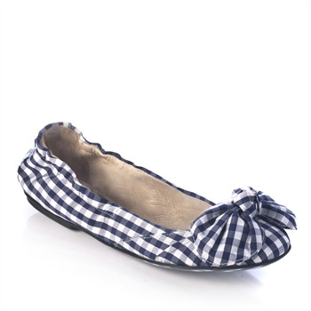 Dolce & Gabbana Blue/White Gingham Check/Bow Pumps