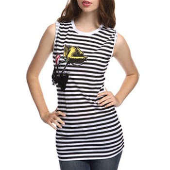 Miss Sixty Black/White Marcy Stripe Sleeveless T-Shirt