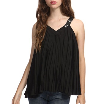 Miss Sixty Black Yuya Pleated Top