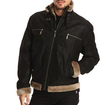 Gianni Feraud Black Zip Front Nubuck Leather Jacket