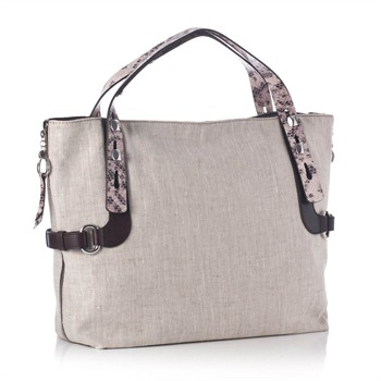 Francesco Biasia Ecru/Pink Snakeskin/Canvas Bag